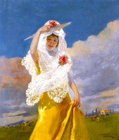 Española con Mantilla (also known as The White Mantilla)  Julio Vila Prades