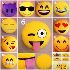 Love emoji pillows, especially these they actually look like the real emojis Felt Crafts, Diy And Crafts, Crafts For Kids, Arts And Crafts, Sewing Crafts, Sewing Projects, Craft Projects, Projects To Try, Cute Pillows