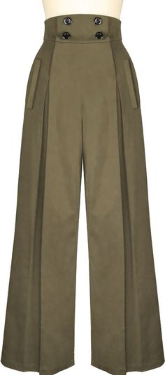 1940s Inspired Button Front Pants - Chic Star design by Amber Middaugh Standard Size $39.95 Plus Size $49.95