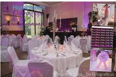 Opstelling voor een huwelijksdiner in de Grote Salon van het Koetshuis te Kasteel Keukenhof. Ronde tafels met roze decoratie. Wit afgerukte stoelen met roze strikken, zilveren kandelaren, windlichtjes met kant en roze lint en DIY bruidspaar roze vaasjes met glimmende stenen. Homemade Catering op Maat levert graag maatwerk op locatie.