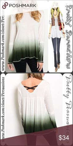 """NWT Green Ombré Long Sleeve Top Available in sizes: S (M & L sold out) Measurements taken in inches from a size small: Length: 25"""" Bust: 40"""" Waist: 44""""  Material: rayon  Features: • beautiful ombré print along bottom hem & end of sleeves/cuffs • rounded neckline (front) • rounded v-neckline in back with lace strap back detail (very unique and trendy) • relaxed, easy fit • pull over design  Bundle discounts available No pp or trades - Item # 1/100890340OT Pretty Persuasions Tops Tees - Long…"""