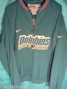 Reebok Mens Pro Line Pullover Miami Dolphins Jacket XL.Free Priority Shipping.