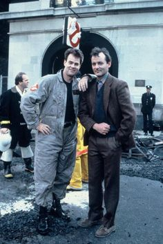 Dan Akroyd and Bill Murray on the set of Ghostbusters