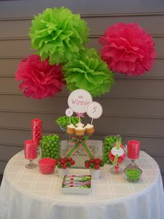 Love the candy jars! And I have the pink and green poms hanging in my room!