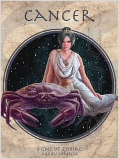 Lorenzo Di Mauro Signs Of Zodiac gallery Fantasy Paintings, Fantasy Art, Cancer Zodiac Art, Zodiac Circle, Pin Up, Cancer Sign, Woman Illustration, Freelance Illustrator, Moon Child