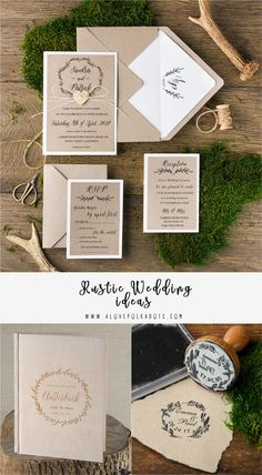 Rustic Wedding Ideas - Invitations, Guest Books, Wooden Stamps and more! All matching your theme Halloween Wedding Invitations, Handmade Wedding Invitations, Unique Invitations, Wedding Stationery, Invitation Ideas, Invites, Invitation Cards, Wedding Programs, Wedding Cards