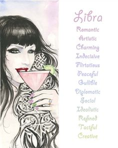 Libra, Zodiac Sign, Watercolor, Print, Illustration,