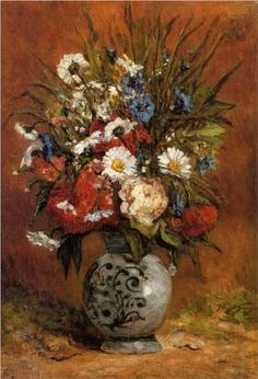 Daisies and Peonies in Blue Vase by Paul Gauguin in oil on canvas, done in Now in a private collection. Find a fine art print of this Paul Gauguin painting. Paul Gauguin, Famous Flower Paintings, Beautiful Paintings, Impressionist Artists, Impressionism Art, Gustav Klimt, Matisse, Van Gogh, Art Images