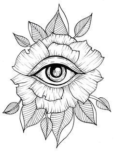 Flower Eye Tattoo Line Art Flash Art Leaves Leaf Geometric . - Tattoos of Hannah Tattoo Sketches, Tattoo Drawings, Art Sketches, Art Drawings, Drawing Art, Trippy Drawings, Small Drawings, Flash Art, Geometric Flower