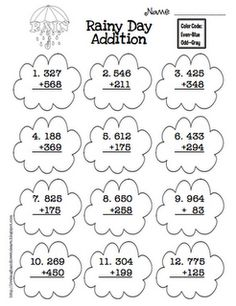 Three digit addition worksheets, crack the code to solve