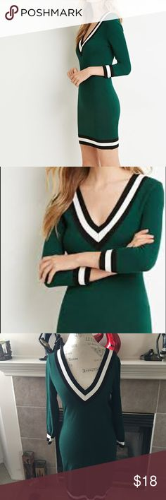 Varsity Style V-Neck Dress Green dress in size XL by Forever 21. Black and cream ribbing at the neckline, wrists, and hemline. Rayon/Nylon. NWT. Forever 21 Dresses Long Sleeve