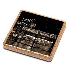 Pike Place Farmer's Market Stone Drink Coaster