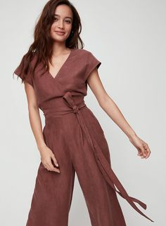 The Brax is made with a soft linen blend that's light and airy — great for rising temperatures. The wrapped bodice defines your waist, while the cut-out detail gives the illusion of a two-piece design. Kelsey Merritt, Short Jumpsuit, Victoria Secret Fashion Show, Two Pieces, Dress Outfits, Dresses, Wide Leg, Bodice, Wrap Dress