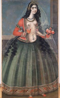 Woman Holding A Rose | Qajar Persia, early 19th Century