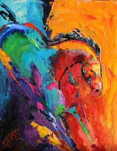 Daily Painters Abstract Gallery: Descent Contemporary Horse Painting by Texas Artist Laurie Pace Holiday Gifts Under $150