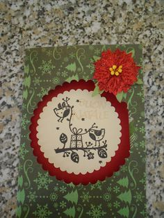 Christmas card: birds and gift - Scrapbook.com