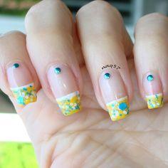 yellow french tips nail art design