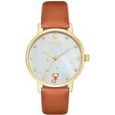 kate spade new york Women's Metro Zodiac Scorpio Luggage Leather Strap... ($195) ❤ liked on Polyvore featuring jewelry, watches, brown, brown watches, sports jewelry, kate spade, kate spade watches and brown jewelry