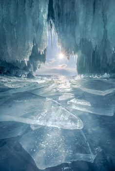 Frozen cave at Lake Baikal in Russia