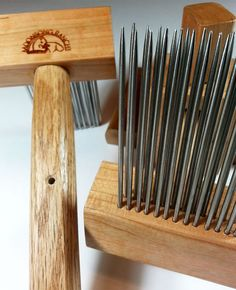 Handcrafted fine wool hand comb set in by MoonsongFiberworks, $124.00