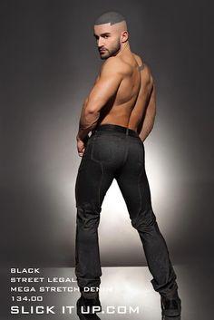 Francois Sagat Love The Jeans Stretch Denim Pants For Men Spandex Gay