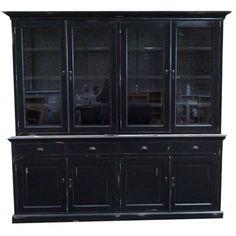 Vitrinekast fabienne 10078 deze prachtige zwarte landelijke vitrinekast heeft een witte - Eigentijdse patio meubels ...