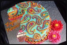 Bright colourful paisely shaped Mehendi cake 1st Anniversary Cake, Paisley Cake, Color Cake, Indian Cake, Cake Design Inspiration, Mehndi Night, Bollywood Party, Colorful Cakes, Cake Decorating Tips