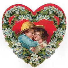 Vintage 1910s Children's Pop Up Valentine Card Large Red Heart with Floral Border