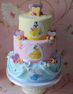 "Disney Princess Cake -- I don't like it, but Jaime is begging me to make it for her birthday. ""Pin it mommy! Pin it!"""