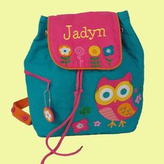 Personalized Stephen Joseph OWL Backpack in Teal and Hot Pink-Monogramming Included. $23.95, via Etsy.