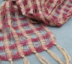 Lightweight Scarf Handwoven Cotton Cranberry Red by aclhandweaver, $125.00