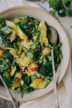 This Asian cucumber salad is light and refreshing, but packed with flavor from a zingy dressing, garlic, and cilantro. It only takes 10 minutes to make.