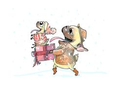 Holiday Family Pugs - Snowy Walk With Dad - Pug Art from INKPUG - Card or Print