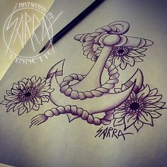 Sunflower anchor tattoo design by Sarra Lynnette