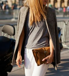 tweed blazer/suede clutch