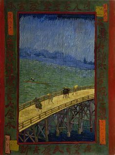 Vincent van Gogh, Bridge in the rain: after Hiroshige (Brug in de regen: naar Hiroshige), Oil on canvas, 1887.