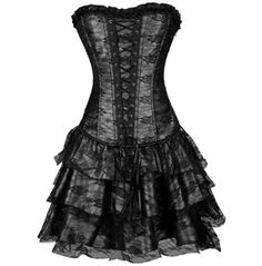 Gothic Floral Lace Up Jacquard Overbust Corsets With Multilayer Skirts M074