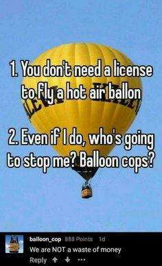 *hot air balloon with a siren slowly drifts in their direction* STOP! THIS IS THE BALLOON COPS!