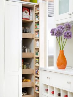Make your pantry shelves work smarter by installing pull out drawers and attaching cubbies to the doors for spices or other small packages of dried goods.