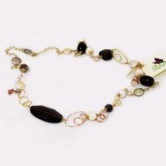 #Collana Lunga in #Argento Color Oro, #Quarzo Fume' e #Perle #Madreperla