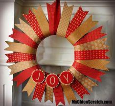 Joy Christmas Wreath http://www.mychicnscratch.com/2014/11/joy-christmas-wreath.html