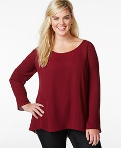 ING Plus Size Solid Open-Back Top