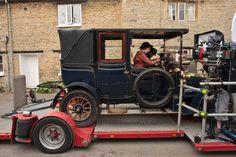 Laura & Allen filming the season 2 scenes where Branson teaches Edith to drive.