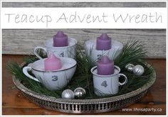 teacup advent wreath Now I have an excuse to buy teacups! Advent Candles, Christmas Candles, Vintage Christmas Ornaments, Diy Christmas Gifts, Christmas Wreaths, Christmas Decorations, Nordic Christmas, Modern Christmas, Family Christmas