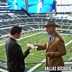 """Josh Henderson and Larry Hagman rehearse a scene in the first-season #DallasTNT episode """"Truth and Consequences,"""" which debuted July 4, 2012."""