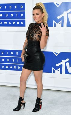 Chantel West Coast from MTV Video Music Awards 2016 Red Carpet Arrivals  The Ridiculousness star throws up a west coast sign as she poses on the carpet in her sexy, black mini.
