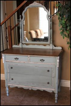 Perfect color and idea for dresser in our master bedroom! Found via http://www.storiesofahouse.com