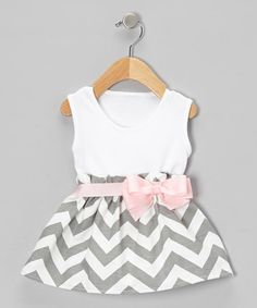 Take a look at this Gray Zigzag Bow Dress - Infant by Caught Ya Lookin' on #zulily today!