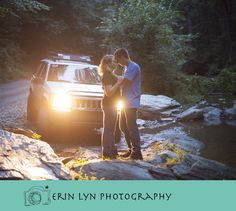 country couple with their jeep. Engagement photography. www.erinlynphotography.com