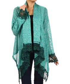 Another great find on #zulily! Jade Crochet-Trim Open Cardigan by J-Mode USA Los Angeles #zulilyfinds